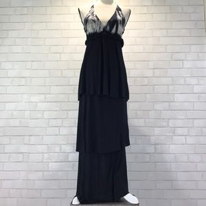 YB&F Jersey Tie Dye Tiered Halter Maxi Dress EUC